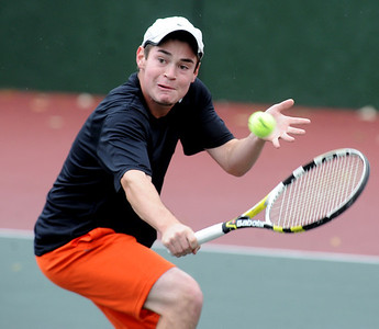 Spencer Weinberg of Grand Junction plays in the finals of the No. 1 singles on Saturday. For more photos from state tennis, go to www.dailycamera.com. Cliff Grassmick  / October 13, 2012