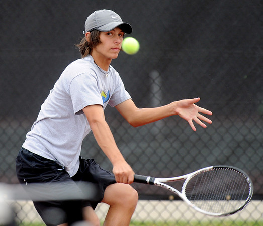 "Joey Diaz of Loveland plays in the finals of state tennis on Saturday.<br /> For more photos from state tennis, go to  <a href=""http://www.dailycamera.com"">http://www.dailycamera.com</a>.<br /> Cliff Grassmick  / October 13, 2012"