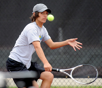 Joey Diaz of Loveland plays in the finals of state tennis on Saturday. For more photos from state tennis, go to www.dailycamera.com. Cliff Grassmick  / October 13, 2012