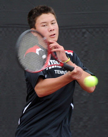 """Alec Leddon of Fairview plays in the finals of the no. 3 singles on Saturday.<br /> For more photos from state tennis, go to  <a href=""""http://www.dailycamera.com"""">http://www.dailycamera.com</a>.<br /> Cliff Grassmick  / October 13, 2012"""