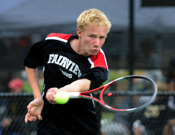 "Tommy Mason of Fairview, plays in the finals of the no.1 doubles with Kevin Chen on Saturday.<br /> For more photos from state tennis, go to  <a href=""http://www.dailycamera.com"">http://www.dailycamera.com</a>.<br /> Cliff Grassmick  / October 13, 2012"