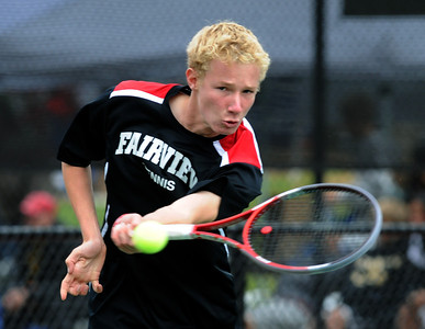 Tommy Mason of Fairview, plays in the finals of the no.1 doubles with Kevin Chen on Saturday. For more photos from state tennis, go to www.dailycamera.com. Cliff Grassmick  / October 13, 2012