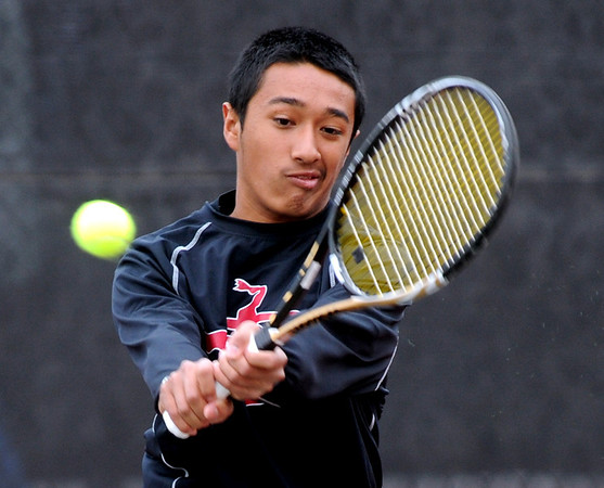 "Ignatius Castelino of Fairview plays in the finals of the no. 2 singles on Saturday in Denver.<br /> For more photos from state tennis, go to  <a href=""http://www.dailycamera.com"">http://www.dailycamera.com</a>.<br /> Cliff Grassmick  / October 13, 2012"