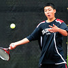 """Kevin Chen of Fairview, plays in the finals of the no.1 doubles with Tommy Mason.<br /> For more photos from state tennis, go to  <a href=""""http://www.dailycamera.com"""">http://www.dailycamera.com</a>.<br /> Cliff Grassmick  / October 13, 2012"""