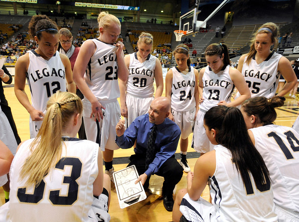 "Legacy High School Head Coach Craig Van Patten talks to his team during a time-out in a Colorado State Semifinals game against Highlands Ranch High School on Wednesday, March 7,  at the Coors Event Center on the University of Colorado campus in Boulder. Legacy won the game 64-61. For more photos of the game go to  <a href=""http://www.dailycamera.com"">http://www.dailycamera.com</a><br /> Jeremy Papasso/ Camera"