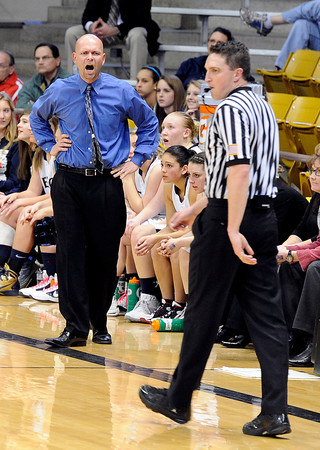 """Legacy High School Head Coach Craig Van Patten argues a call with the referee during a Colorado State Semifinals game against Highlands Ranch High School on Wednesday, March 7,  at the Coors Event Center on the University of Colorado campus in Boulder. Legacy won the game 64-61. For more photos of the game go to  <a href=""""http://www.dailycamera.com"""">http://www.dailycamera.com</a><br /> Jeremy Papasso/ Camera"""