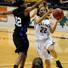 "Legacy High School's Kailey Edwards goes for a shot over Highland Ranch's Jayln Yates during a Colorado State Semifinals game against Highlands Ranch High School on Wednesday, March 7,  at the Coors Event Center on the University of Colorado campus in Boulder. Legacy won the game 64-61. For more photos of the game go to  <a href=""http://www.dailycamera.com"">http://www.dailycamera.com</a><br /> Jeremy Papasso/ Camera"