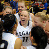 "Legacy High School's Emily Glen, center, screams with her team after defeating Highlands Ranch during a Colorado State Semifinals game against Highlands Ranch High School on Wednesday, March 7,  at the Coors Event Center on the University of Colorado campus in Boulder. Legacy won the game 64-61. For more photos of the game go to  <a href=""http://www.dailycamera.com"">http://www.dailycamera.com</a><br /> Jeremy Papasso/ Camera"