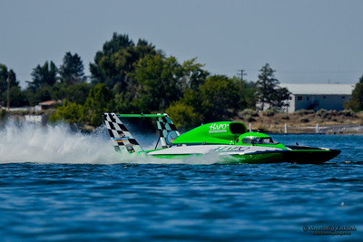 TRI-CITIES, WA - JULY 28: Brian Perkins pilots U-21 Go Fast, Turn Left hydroplane along the water at the Lamb Weston Columbia Cup July 28, 2012 on the Columbia River in Tri-Cities, WA.