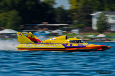 TRI-CITIES, WA - JULY 28: Kelly Stocklin pilots U-18 Bucket List Racing hydroplane along the water at the Lamb Weston Columbia Cup July 28, 2012 on the Columbia River in Tri-Cities, WA.