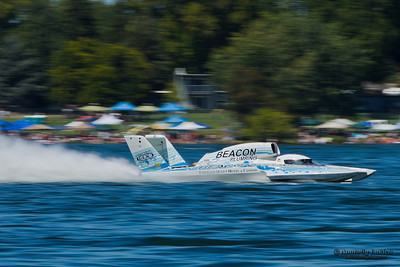 TRI-CITIES, WA - JULY 29: J. Michael Kelly pilots U-37 Miss Beacon Plumbing hydroplane along the water at the Lamb Weston Columbia Cup July 29, 2012 on the Columbia River in Tri-Cities, WA.