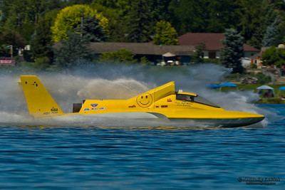 TRI-CITIES, WA - JULY 28: Ryan Mallow pilots U-99 Leland Unlimited hydroplane along the water at the Lamb Weston Columbia Cup July 28, 2012 on the Columbia River in Tri-Cities, WA.