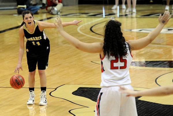 """Monarch High School's Rebecca Richmond yells out a play to her team during a Colorado State Semifinals game against Regis Jesuit High School on Wednesday, March 7,  at the Coors Event Center on the University of Colorado campus in Boulder. Monarch won the game 69-57. For more photos of the game go to  <a href=""""http://www.dailycamera.com"""">http://www.dailycamera.com</a><br /> Jeremy Papasso/ Camera"""