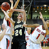 "Monarch High School's Jac Malcolm-Peck takes a shot over Regis Jesuit High School's Justine Hall, No. 1, during a Colorado State Semifinals game against Regis Jesuit High School on Wednesday, March 7,  at the Coors Event Center on the University of Colorado campus in Boulder. Monarch won the game 69-57. For more photos of the game go to  <a href=""http://www.dailycamera.com"">http://www.dailycamera.com</a><br /> Jeremy Papasso/ Camera"