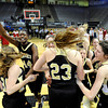 "Monarch High School's Alexus Johnson, No. 44, holds up her finger while celebrating victory with her team at the Colorado State Semifinals game against Regis Jesuit High School on Wednesday, March 7,  at the Coors Event Center on the University of Colorado campus in Boulder. Monarch won the game 69-57. For more photos of the game go to  <a href=""http://www.dailycamera.com"">http://www.dailycamera.com</a><br /> Jeremy Papasso/ Camera"