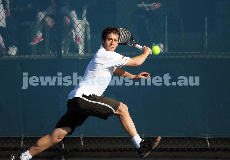 30-9-12. Victorian Jewish Tennis Championships. Paul Arber def Luke Goldberg, 6 - 1, 6 - 3. Paul Arber. Photo: Peter Haskin