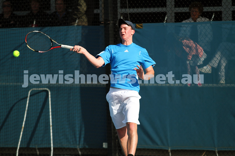 30-9-12. Victorian Jewish Tennis Championships. Paul Arber def Luke Goldberg, 6 - 1, 6 - 3. Luke Goldberg. Photo: Peter Haskin
