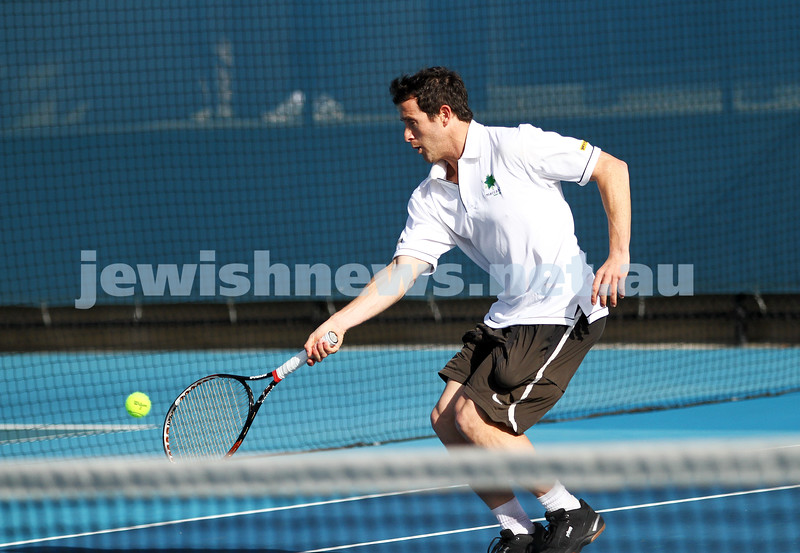 30-9-12. Victorian Jewish Tennis Championships. Paul Arber def Luke Goldberg, 6 - 1, 6 - 3. Paul Arber. Photo: Peter Haskin