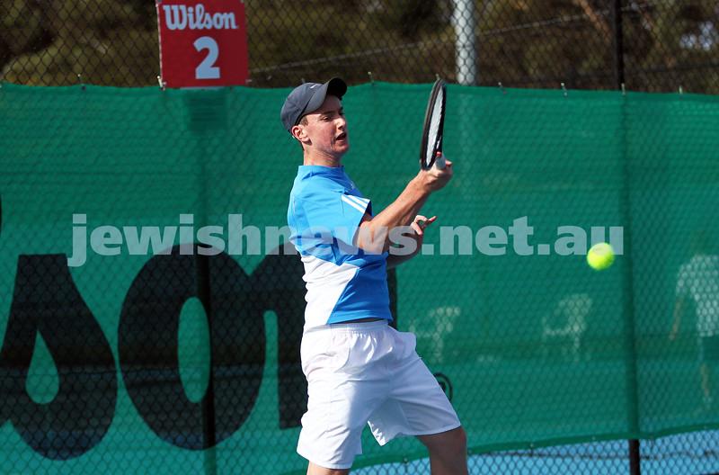 30-9-12. Victorian Jewish Tennis Championships. Paul Arber def Luke Goldberg, 6 - 1, 6 - 3. Luke Goldberg. Photo: Peter Haskin