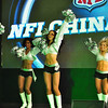 Cheerleaders from the Oakland Raiders perform for the crowd