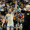 "Broomfield High School's Drew Romero, left, gets his hand held up by the referee after defeating Windsor High School's Jonathan Lewis in the Class 4A 106-pound championship match on Saturday, Feb. 18,  during the 2012 Colorado State Wrestling Championships at the Pepsi Center in Denver. Romero won the match to clench the state title. For more photos of the Championship matches go to  <a href=""http://www.dailycamera.com"">http://www.dailycamera.com</a><br /> Jeremy Papasso/ Camera"