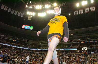 Erie's Clay Bunker paces waiting to wrestle Broomfield's Nick Babcock in the 152 lbs 4A championship match during the 2012 State Wrestling Tournament Saturday at the Pepsi Center in Denver. February 18, 2012 staff photo/ David R. Jennings