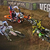 Vilopoto, Alessi and Dungey negotiate the first turn in Main Event Moto 2 - 20 Oct 2012