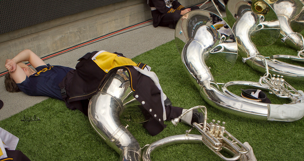 A Cal Band member sleeps before the Stanford vs. Cal game at Memorial Stadium in Berkeley, Calif.,  on Saturday, Oct.20th, 2012