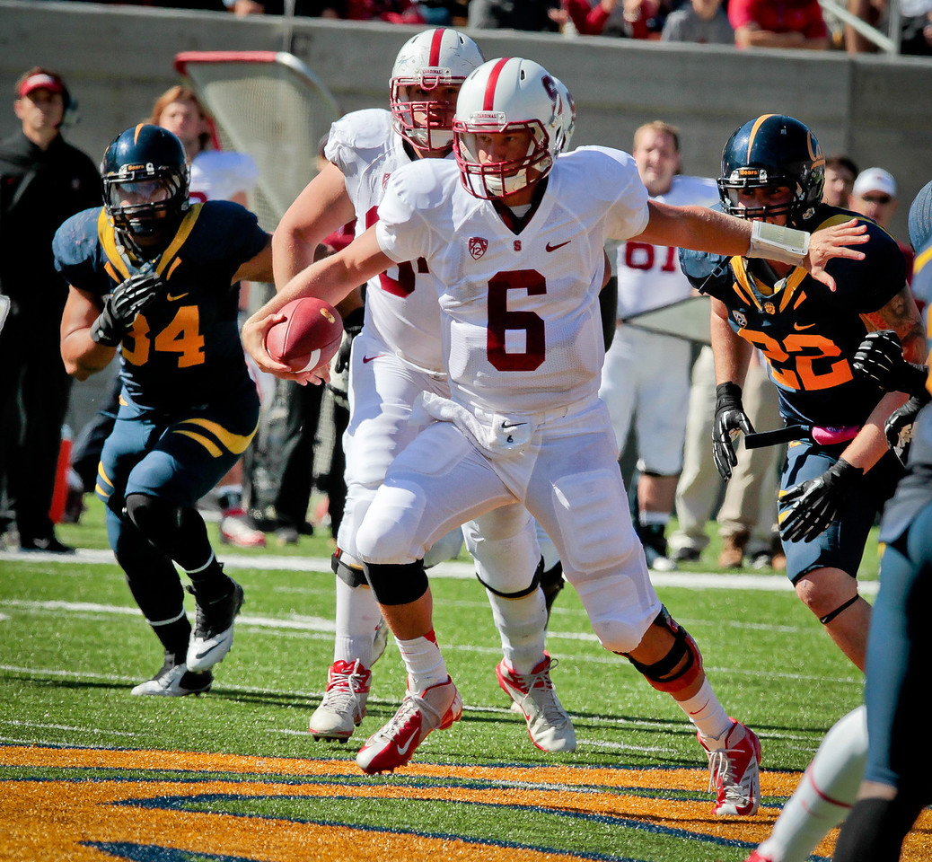 Stanford quarterback Josh Nunes runs for a 1st down during the Stanford vs. Cal game at Memorial Stadium in Berkeley, Calif.,  on Saturday, Oct.20th, 2012