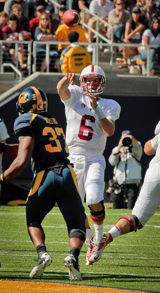 Stanford quarterback Josh Nunes throws a pass during the Stanford vs. Cal game at Memorial Stadium in Berkeley, Calif.,  on Saturday, Oct.20th, 2012