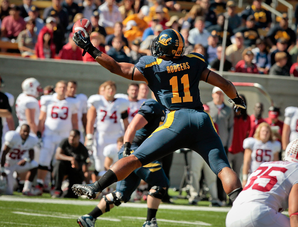 Cal's Richard Rodgers almost catches a pass in the Stanford vs. Cal game at Memorial Stadium in Berkeley, Calif.,  on Saturday, Oct.20th, 2012