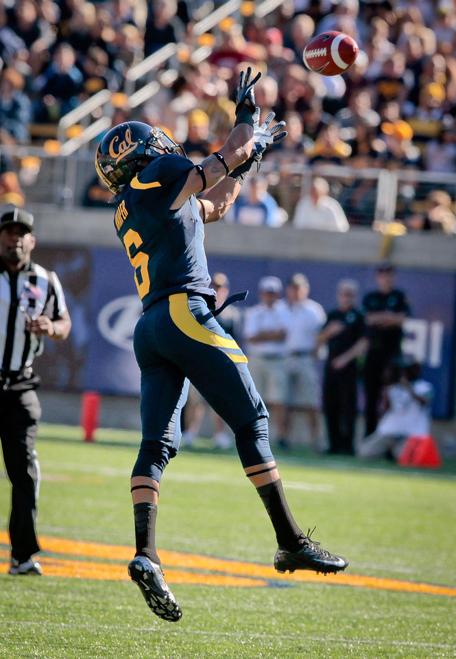 Cal receiver Alex Logan catches a pass during the Stanford vs. Cal game at Memorial Stadium in Berkeley, Calif.,  on Saturday, Oct.20th, 2012