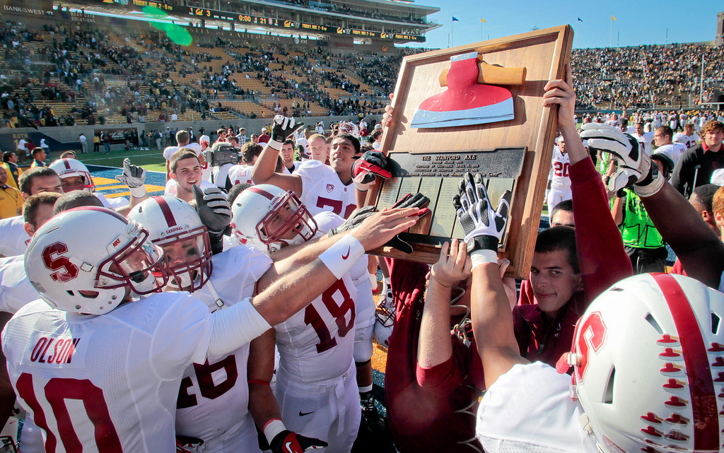 Stanford players with the Axe after they beat Cal 21-3 at Memorial Stadium in Berkeley, Calif.,  on Saturday, Oct.20th, 2012