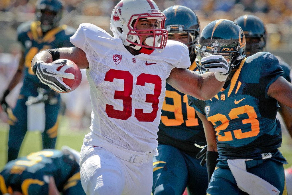 Stanford's Stepfan Taylor runs for a touchdown during the Stanford vs. Cal game at Memorial Stadium in Berkeley, Calif.,  on Saturday, Oct.20th, 2012