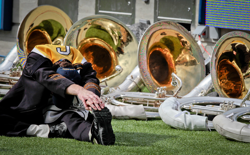 A Cal band member stretches before the Stanford vs. Cal football game at Memorial Stadium in Berkeley, Calif.,  on Saturday, Oct.20th, 2012
