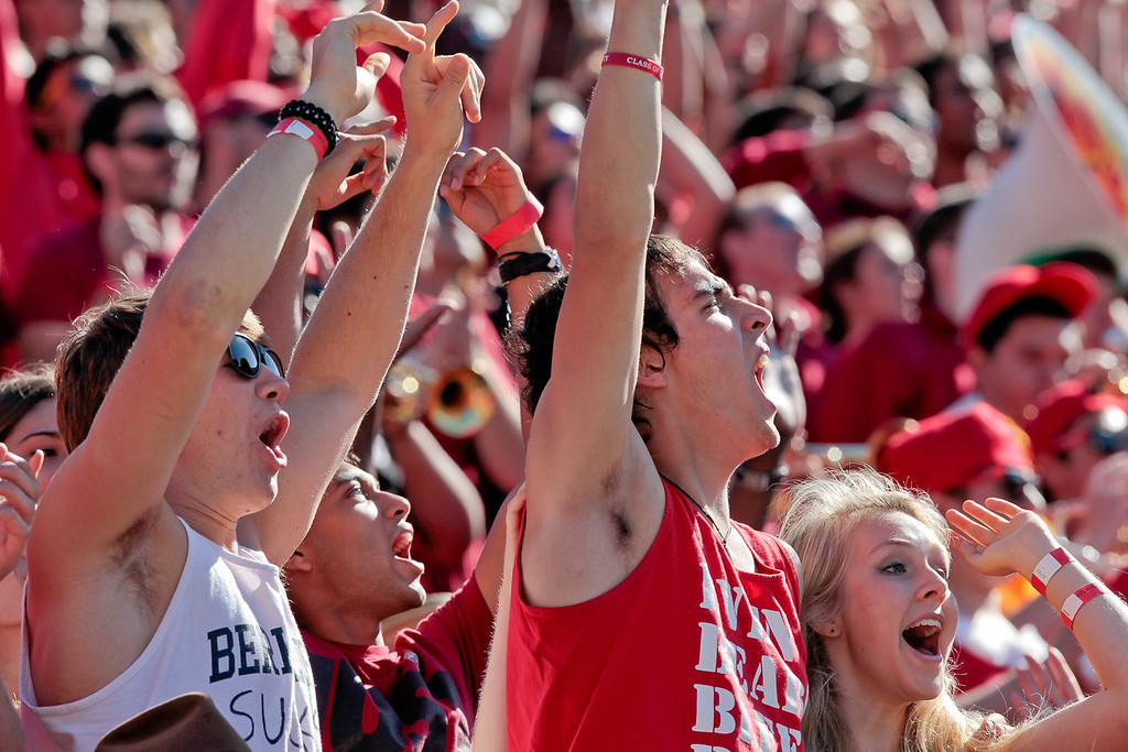 Stanford students cheer after a touchdown during the Stanford vs. Cal game at Memorial Stadium in Berkeley, Calif.,  on Saturday, Oct.20th, 2012