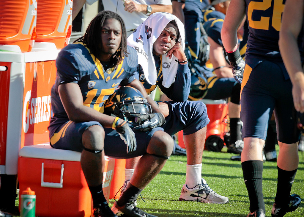 Cal's Adrian Lee (15) and Cecil Whiteside during their loss to Stanford  at Memorial Stadium in Berkeley, Calif.,  on Saturday, Oct.20th, 2012