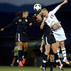 Peak to Peak High School's Belle Morel, No. 13, heads the ball over Heritage High School's Lucy Brainerd, center, and Colorado Academy's Marin McCoy on Wednesday, July 25, during the girls All-Star soccer game at Shea Stadium in Highlands Ranch.<br /> Jeremy Papasso/ Camera