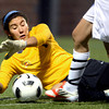 Frederick High School goalkeeper Alex Godinez makes a diving save on Wednesday, July 25, during the girls All-Star soccer game at Shea Stadium in Highlands Ranch.<br /> Jeremy Papasso/ Camera