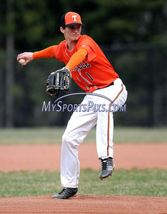 4/10/2012 Mike Orazzi | Staff Terryville's Tanner Greenlaw (1) on the mound against Northwestern at THS on Tuesday afternoon.