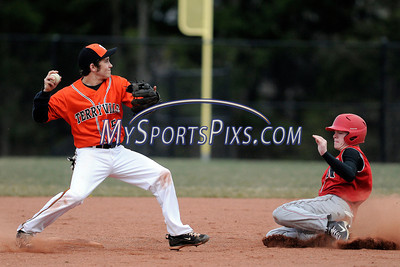 4/10/2012 Mike Orazzi | Staff Terryville's Ben Russo (5) starts a double play with  Northwestern's John Lippincott (12) at THS on Tuesday afternoon.