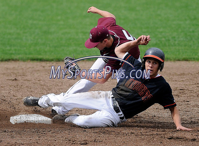 5/30/2012 Mike Orazzi | Staff Bristol Central's Connor Hayes (5) puts the tag on Stamford's Nick Palumbo (8) at Muzzy Field during the Class LL Second Round baseball game on Wednesday afternoon.