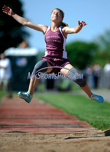 5/17/2012 Mike Orazzi | Staff Bristol Central's Megan Heffernan in the long jump at BC on Thursday.
