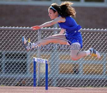 4/13/2012 Mike Orazzi | Staff Bristol Eastern's Aubrey Soucy takes first place in the 300 hurdles during  a meet with St. Paul and Kaynor Tech at BEHS on Friday afternoon.