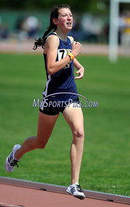 4/28/2012 Mike Orazzi | Staff Newington's Kaylie McNally in the 1600 during the Irv Black Invitational at Willow Brook Park on Saturday.
