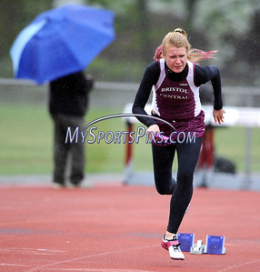 5/8/2012 Mike Orazzi  | Staff Bristol Central's Lauren Bossi during the 4x100 at BC on Tuesday afternoon.