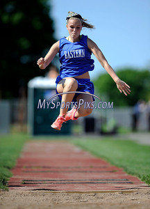 5/17/2012 Mike Orazzi | Staff Bristol Eastern's Kelly Quirion in the long jump during Thursday's track meet at BC.