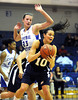 2/11/2012 Mike Orazzi | Staff<br /> CCSU's Kirsten Daamen (23) and Quinnipiac's Kari Goodchild (10) during Saturday's basketball game with at Detrick Gym in New Britain.