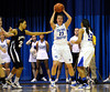 2/11/2012 Mike Orazzi | Staff<br /> CCSU's Kirsten Daamen (23)  during Saturday's basketball game with in state rival Quinnipiac at Detrick Gym in New Britain.