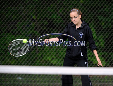 5/10/2012 Mike Orazzi | Staff Plainville High School's Emily Duda during a match with Bristol Eastern on Thursday afternoon at PHS.